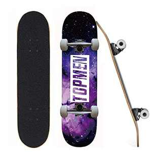 """Standard Skateboards, Beginner Skateboards, 31"""" x 8"""" Complete Pro Skateboard with Repair Kit for Kids/Boys/Girls/Youth/Adults, 7 Layer Canadian Maple Double Kick Skateboard for Outdoors (Purple Sky)"""