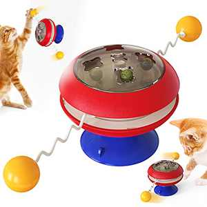 XIAOGO VVCAT Cat Catnip Toy Balls Teaser Wand Kitten Toys Pet Supplies Cats Windmill Ball with Suction Cup