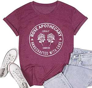 Hymuses Rose Apothecary Shirts for Women Funny TV Show Letter Print Graphic Tshirt Short Sleeve Tee Top Purple XXLarge