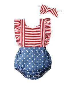 Shalofer Baby Girls 4th of July Outfits Toddler USA Flag Romper Backless Bodysuit (Red,3-6 Months)