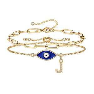 Gold Evil Eye Bracelets for Women, 14K Gold Plated Layering Dainty Paperclip J Initial Bracelet Protection Evil Eye Jewelry Layered Gold Evil Eye Bracelets for Womens Friendship Gifts Jewelry Set