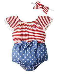 Shalofer Baby Girls 4th of July Outfits Toddler USA Flag Bodysuit Summer Clothes (4th of July,18-24 Months)