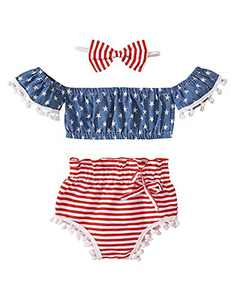 Shalofer Baby Girls 4th of July Outfits Toddler American Flag Tassel Romper (Blue,6-12 Months)