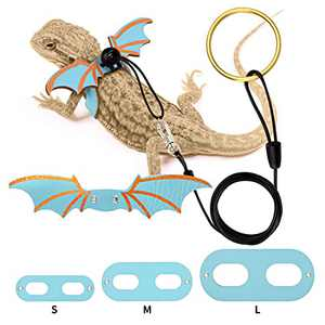 Bearded Dragon Leash and Harness Adjustable Leather Wings Costume Carrier from Baby to Juvenile Lizard Iguana Gecko Chameleon Hamster Ferret Reptile Walking Leash S M L 3 Pack