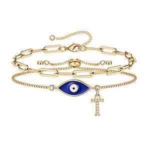 Gold Evil Eye Bracelets for Women, 14K Gold Plated Dainty Layering Paperclip T Initial Bracelet Protection Evil Eye Jewelry Layered Gold Evil Eye Bracelets for Womens Friendship Gifts Jewelry Set