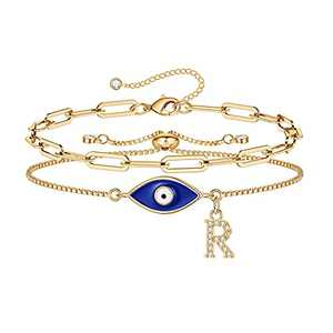 Gold Evil Eye Bracelets for Women, 14K Gold Plated Dainty Paperclip R Initial Bracelet Layering Protection Evil Eye Jewelry Layered Gold Evil Eye Bracelets for Womens Friendship Gifts Jewelry Set