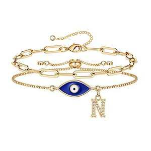 Layering Gold Evil Eye Bracelets for Women, 14K Gold Plated Dainty Paperclip N Initial Bracelet Protection Evil Eye Jewelry Layered Gold Evil Eye Bracelets for Womens Friendship Gifts Jewelry Set