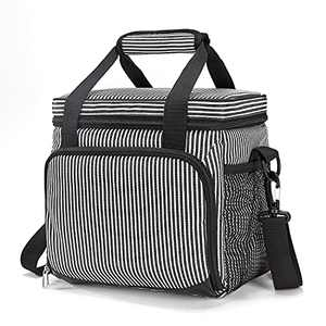 MOVCOMPRA Cooler Lunch Bag 16-Can Leakproof Insulated Lunch Box for Men, Cooler Bags Insulated for Travel,Beach,Work,Picnic. (16-Can(Stripe))