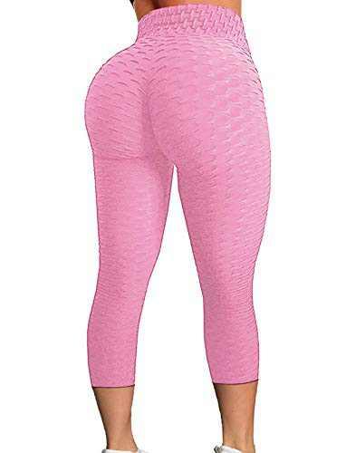 FITTOO Women's High Waist Yoga Pants Tummy Control Scrunched Booty Capri Leggings Workout Running Butt Lift Textured Tights Pink 2XL