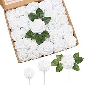 Artificial Rose Flowers,IPOPU 25pcs White Fake Roses Real Looking Foam Roses w/Stem for DIY Wedding Bouquets Centerpieces Arrangements Party Baby Shower Home Decorations (White)