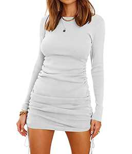 BTFBM Women Ruched Bodycon Drawstring Dress Plain Solid Crew Neck Long Sleeve Casual Stretch Knit Tight Short Dresses (Solid White, X-Large, x_l)