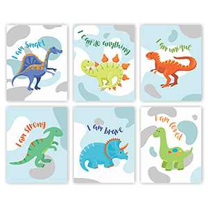 Eleville 8X10 Unframed Set of 6 Watercolor Dinosaur Art Print Animals Dinosaur Inspirational Quote Canvas Wall Art Perfect for Nursery Bedroom Decoration wgn556