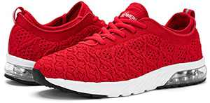 Womens Sneakers Lightweight Breatahable Walking Shoes Air Cushioned Athletic Running Shoes(Red, 5.5)