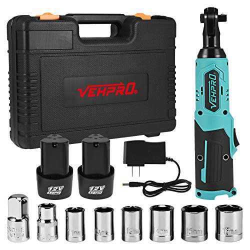 """Cordless Electric Ratchet Wrench, BGFIIPAJG 3/8"""" 12V LED Power Ratchet Wrench, 2-Pack 2.0Ah Lithium-Ion Batteries, 7 Sockets, 1-Piece 1/4""""Socket Adapter, Fast Charger"""