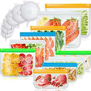 Reusable Food Storage Bags(10 Pack) & Silicone Stretch Lids(6 Pack), Large Freezer Food Storage Wrap Ziplock Containers for Vegetable, Liquid, Meat, Sandwich (bags+lids)