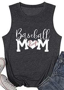 T&Twenties Women Baseball Mom Heart Print Tank Tops Casual Love Baseball Mom Life Vest Sleeveless Baseball Muscle Workout Shirt Dark Grey