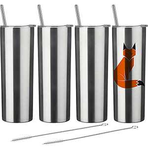 4 Pack Classic Tumbler Stainless Steel Double-Insulated Water Tumbler Cup with Lid and Straw Vacuum Travel Mug with Cleaning Brush (Sublimation Stainless Steel, 20 oz)