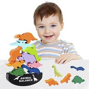 Dinosaur Stocking Stuffers Toys for Kids Age 3-6, Building Wooden Blocks Puzzles STEM Montessori Preschool Educational Boys Girls Toy for 2-8 Year Old Christmas Birthday Gifts for 2-6 Year Old Boys