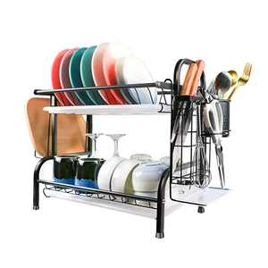 Dish Drying Rack,2 Tier 304 Stainless Steel Kitchen Dish Rack with Utensil Holder,Cutting Board Holder,Dish Drainer with Drainboard Tray for Kitchen Counter Organizer.