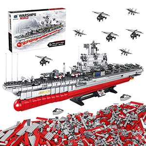 HENG TAI 2863PCS 32.3 in Building Toys STEM Blocks for Kids, Collectible Large Military Battleship with Soldier Jet Helicopter Warship, Roleplay Construction Toys Gift for Boys Girls, 1:275 Scale