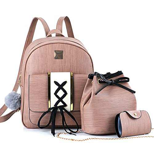 Mini Backpack Purse for Girls Pink Small Travel Backpack for Women School Backpacks for Teen Girls Waterproof Backpack Set PU Leather Backpack for Women Shoulder Bags Ladies Anti-theft Rucksack