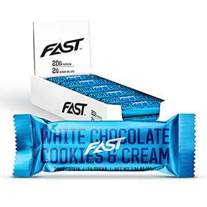 FAST BRANDS White Chocolate Cookies & Cream 20g Protein Bars, Pack of 12