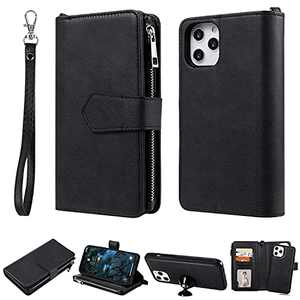 Yikatu Case Wallet Compatible with iPhone 12 Pro Max,6.7 Inch Wallet Phone case for Women & Men,2 in 1 Zipper Detachable Folio Flip Cover Card Slots Money Pocket Clutch with Strap(Black)