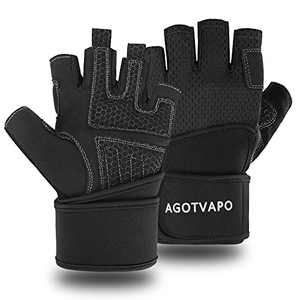 Workout Gloves Men Women Half Finger Exercise Gloves with Wrist Support for Weight Lifting, Cycling, Gym, Training, Made of Microfiber and Spandex Fiber (Black, Medium)