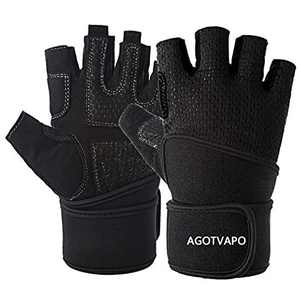 Workout Gloves Men Women Half Finger Exercise Gloves with Wrist Support for Weight Lifting, Cycling, Gym, Training, Made of Microfiber and Spandex Fiber (Black, X-Large)