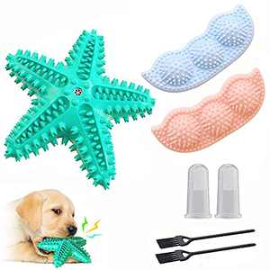 7Pcs Puppy Toys for Teething Small Dogs, Squeaky Starfish Dog Chew Toy with 2-8 Months 360°Pet Teeth Cleaning Soothes Itchy Puppies Toys Finger Toothbrush Cleaning Brush