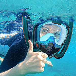 Full Face Snorkel Mask, Snorkeling Gear, Rebreather Mask, Swimming/Outdoor Diving Mask,for Adults, Easy to Install Dive Cameras (XL)