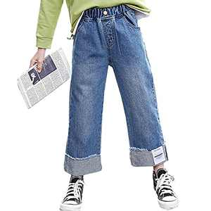 OnlyAngel Kids Girls Washed Elastic Waist Wide Leg Jeans Size 4-14 Years (Blue Rolled Leg, 5-6 Years, 5_Years)