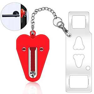 Door Lock Home Apartment Hotel Security Door Locker Travel door lock latch for Additional Safety and Privacy Perfect for Traveling(RED)