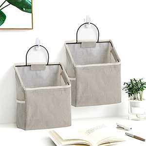 2Pack Wall Hanging Organizer Bag ,Closet Hanging Storage for Pocket,Bathroom Dormitory Storag,Linen Cotton Organizer Box Containers for Bedroom(Gray)