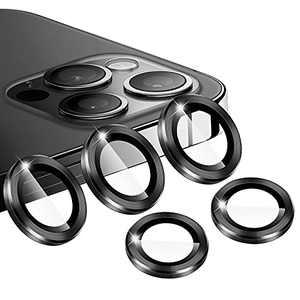 [5 Pcs] Vanzon iPhone 12 Pro Max Camera Lens Protector,Tempered Glass Aluminum Alloy Camera Screen Ring Circle Cover Film - Black