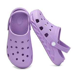 Xingfujie Toddler Clogs Slippers Sandals Slip On Shoes for Boys and Girls Water Shoes Garden Shoes for Beach Size 1 Big Kid Purple-1