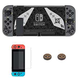 Protective Case for Nintendo Switch, Arttodo Monster Hunter Rise Theme Hard Shell Cover Case for Switch Console and Joy-Con, Switch Game Dockable Case with Screen Protector and Thumb Grip Caps(Clear)