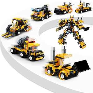 MOONTOY Construction Toys Cars, 718pcs STEM Building Toys 6 in 1 Transform Robot Toy Engineering Vehicles Building Blocks Crane Digger Toys Educational Toys Gift for Kids Boys Girls Aged 5 6 7 8 9 10+