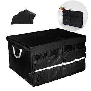 KJM Car Trunk Organizer with Foldable Cover| Large Car Organizer with Compartments Adjustable Divider | SUV Trunk Organizer Necessary for Daily Use and Travel | Trunk Organizers and Storage SUV