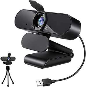 Webcam with Microphone, Amoner 1080P HD Streaming USB Computer Webcam with Privacy Cover,Plug and Play Game and More