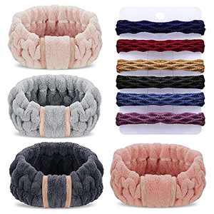 Spa Headbands, Denfany Microfiber Headbands 4 Counts Wash Face Headband for Bath, Makeup and Spor (Black + White + Gray)