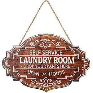 Jetec Vintage Laundry Room Wooden Sign Rustic Laundry Self Service Wall Hanging Farmhouse Family Laundry Room Wall Decor Prints Drop Your Pants Here for Home Laundry Room, 16 x 10.6 x 0.2 Inches
