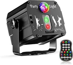 Rave Lights DJ Light Sound Activated Disco Light HD 60 Patterns Stage Strobe Light RGB Rotate DJ Beam Light Projector with Remote Control for 90s Party Decoration Christmas Halloween Birthday Dancing