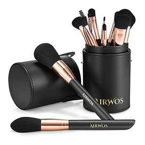 AIRWOS Professional Makeup Brush Set(14Pcs) Pearl Flash Handles Premium Synthetic Foundation Face Powder Blush Blending Eyeshadow Concealers Makeup Brushes with makeup brush holder