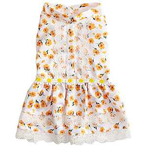 Hollypet Puppy Clothes Dog Apparel Pet Dress for Dogs and Cats Doggie Outfits Birthday Party Pet Costumes Floral Puppy Cat Princess Dress, Yellow Lace, M