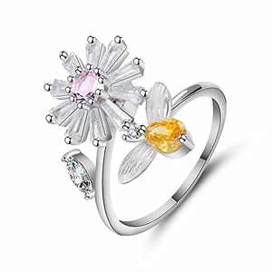 Little bee daisy zircon adjustable opening ring suitable for ladies/girls mother's day gift