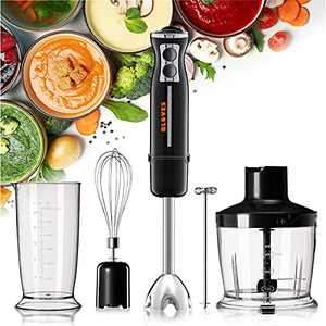 Immersion Blender, Hand Blender for Baby Food Puree Soup Smoothie, 800W 5-in-1 Multipurpose Stick Blender with Accessories Egg Whisk/Milk Frother/Food Chopper/Beaker, 12 Speed Turbo Mode, BPA-Free