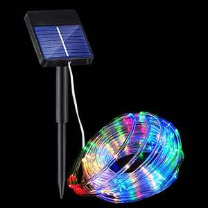 Solar Rope Lights Outdoor Waterproof, PVC Tube, Multicolor, 32ft 100led, 8Modes, Garden, Pool, Yard, Patio, Christmas