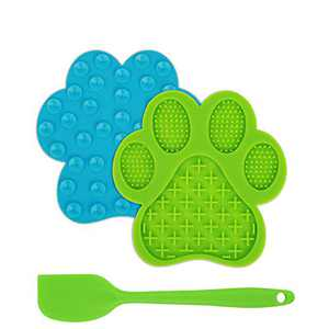 2Pcs Pet Slow Feeder Lick Mat, Anti-Skid Dog & Cats Lick Pad Promote Health Fun Pet Feeder Food Mat with Super Suction for Pet Bathing, Grooming and Dog Training (with Silicone Scraper)