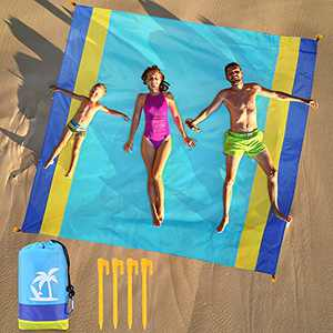 """KISMARY Beach Blanket, Beach Mat Outdoor Picnic Blankets Waterproof sandproofComfortable for 4-7 Persons, Lightweight Nylon Pocket Fast Drying Beach Accessories for Travel Camping Hiking (79"""" X 82"""")"""
